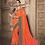 Thumbnail: Joh Rivaaz Designer V-II Perfect-Candy-Orange Exclusive Saree - 4509