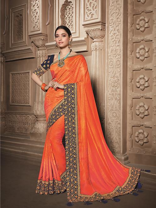 Joh Rivaaz Designer V-II Perfect-Candy-Orange Exclusive Saree - 4509