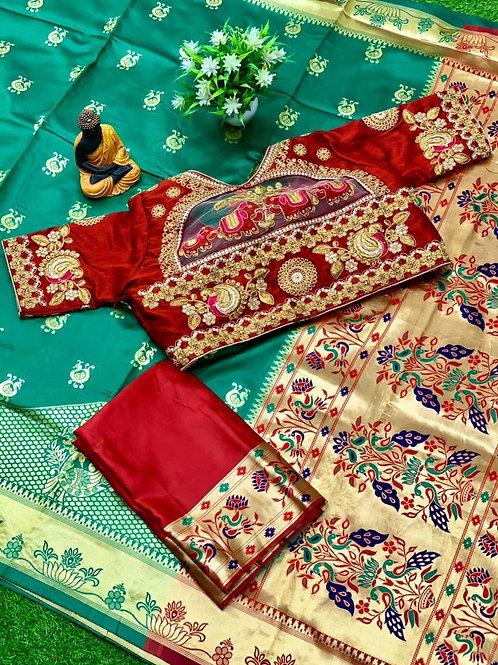 Festival Combo Lichi Silk Green Saree with Blouse