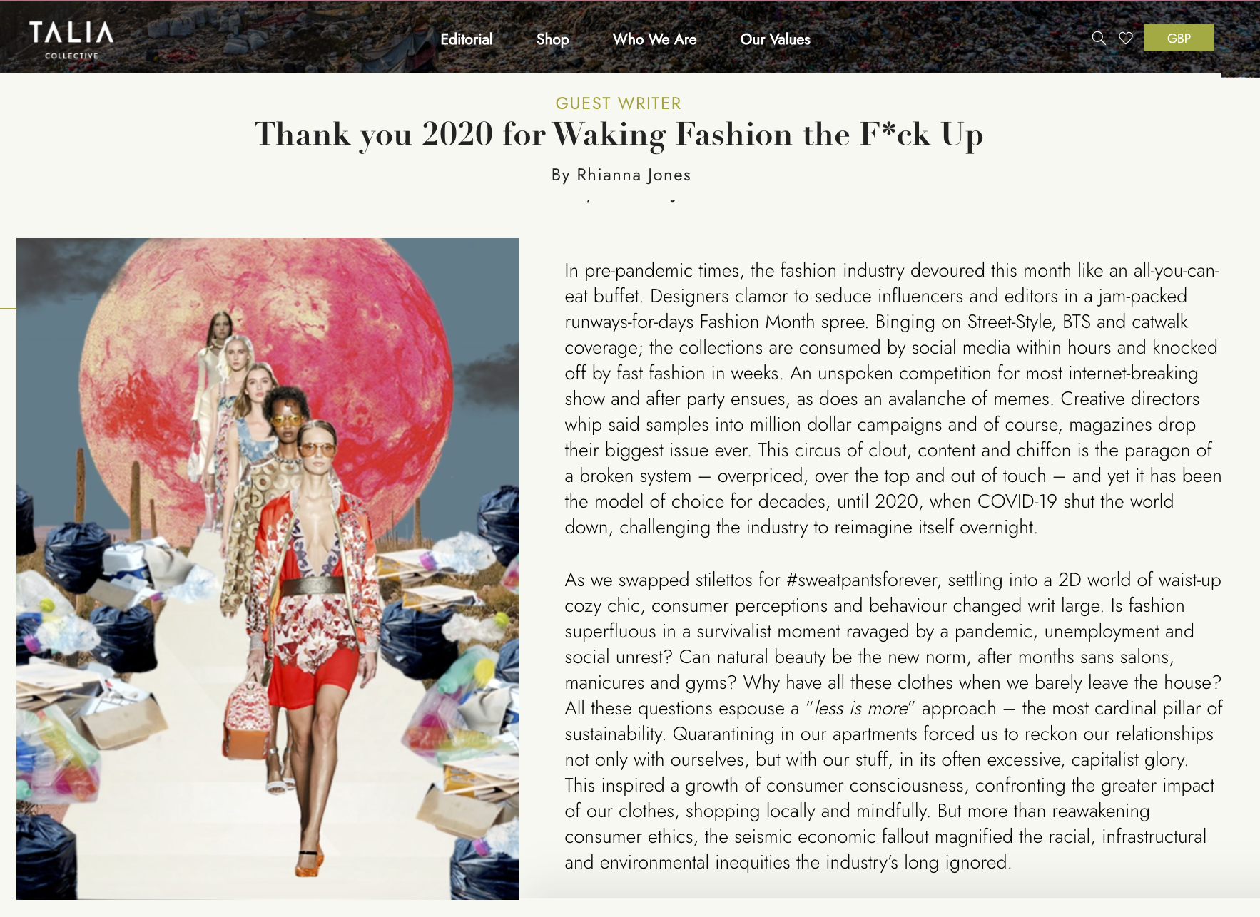 Talia Cover Story - Waking Fashion Up in 2020