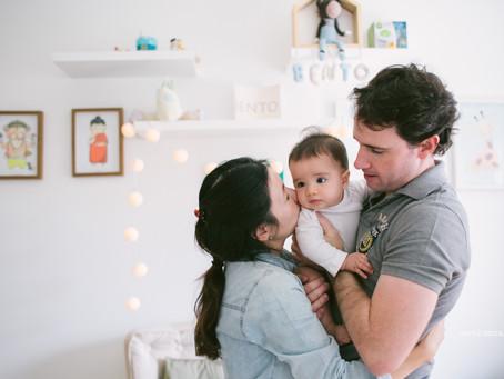 Aos 7 meses · ensaio de bebê em casa