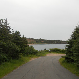 The road to the sand beach at Sandy Cove, Bay of Fundy.