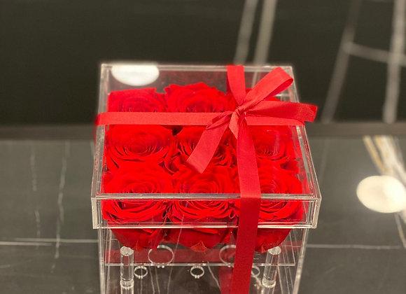 ROSES STABILISÉES BOX PLEXI