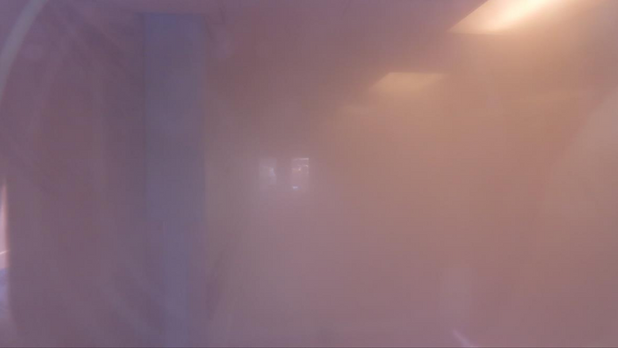 Large room filled with a fog. Lights are on and it is difficult to see more than a few feet.