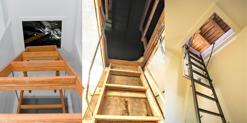 Collage of three images the show pulldown ladders leading to attics.