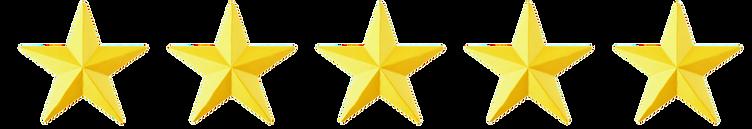 5 Gold stars represnting 5 star reviews