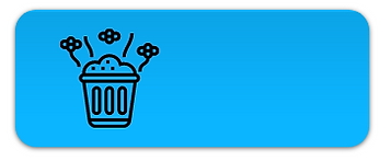 blue container box with picture of a trashcan with flies and lines representing a bad smell