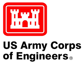 US Army Corps of Engineers Logo - white castle in a red box