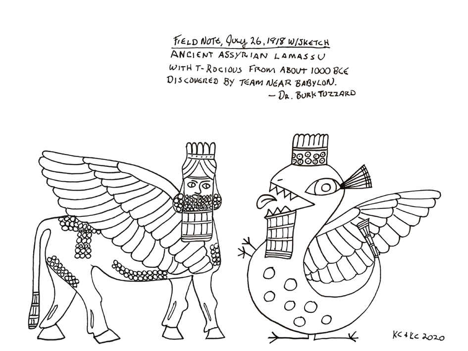 Lamassu & T-Rocious from Field book of Dr. Burk Tuzzard, 1918