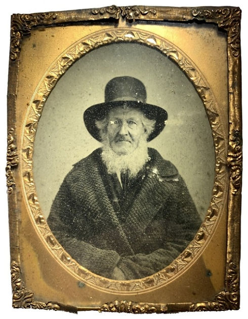 Wolves and Flax Ambrotype of Ohio Pioneer William Prior Sr. circa 1850