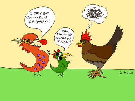 Things not to discuss with giant chickens!