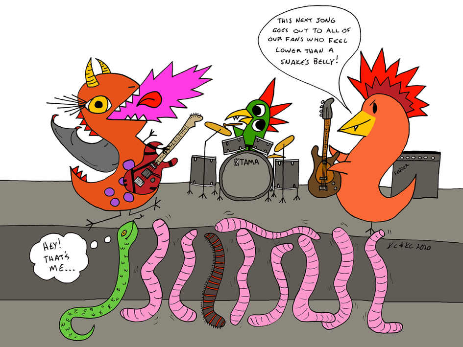 "The Monsters of Rock play their new hit song ""Lower Than a Snake's Belly"" to all 10 of their fans including a mosh pit of 8 night crawlers, a giant American millipede and a grass snake 🐍"