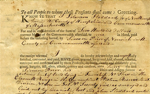 Wolves and Flax 1802 Prior Connecticut Western Reserve Land Deed