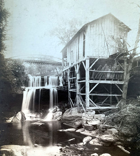 Wolves and Flax Old Flouring Mill Built by William Prior Sr., Henry William Prior with old State Road Bridge in Cuyahoga Falls Ohio circa 1870