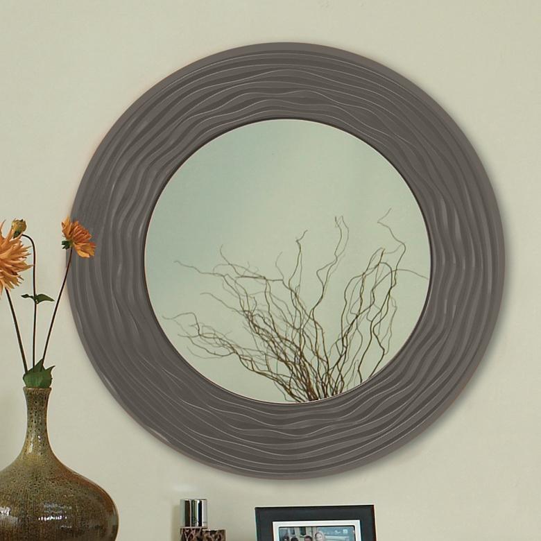 Sahara Carved Round Mirror
