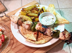 Chicken kebobs with roasted potatoes