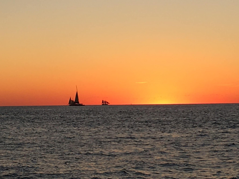 sunset, mallory square, sail boats, ocean, key west,