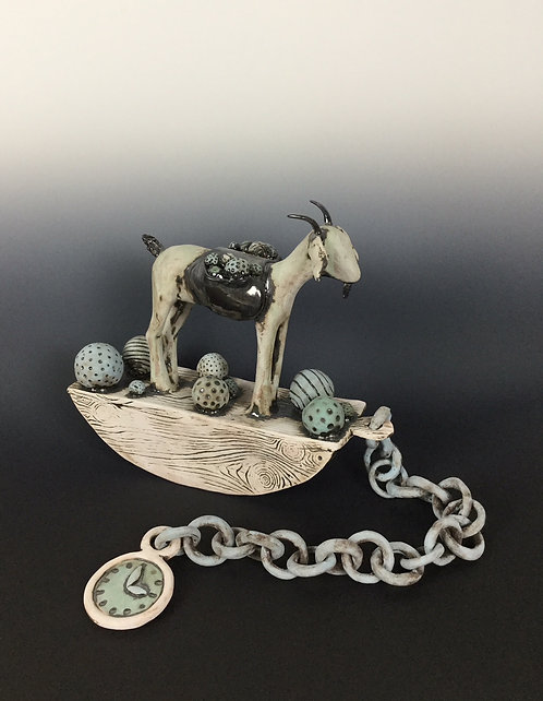 Rocking Goat with Saddle and Watch