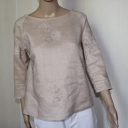 Haut Femme, Blouse pour femme en lin au tissage serré, brodé.Taille S (36-38).