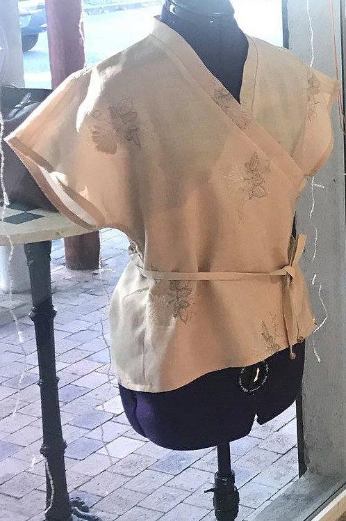 Haut cache-coeur en lin brodé - Femme