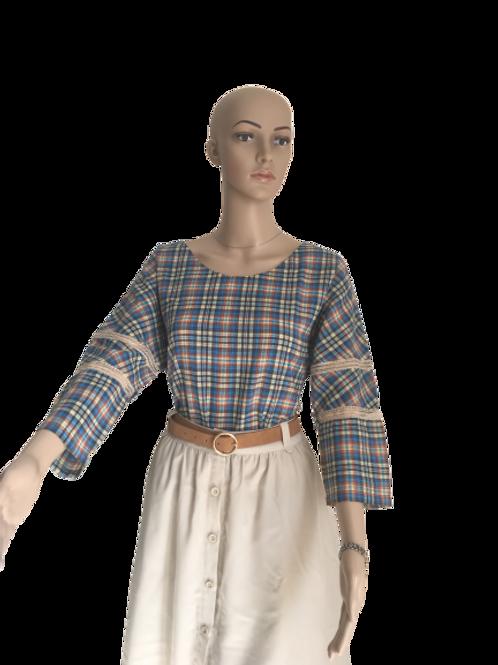 Blouse Femme à carreaux en 100% coton. Esprit vintage