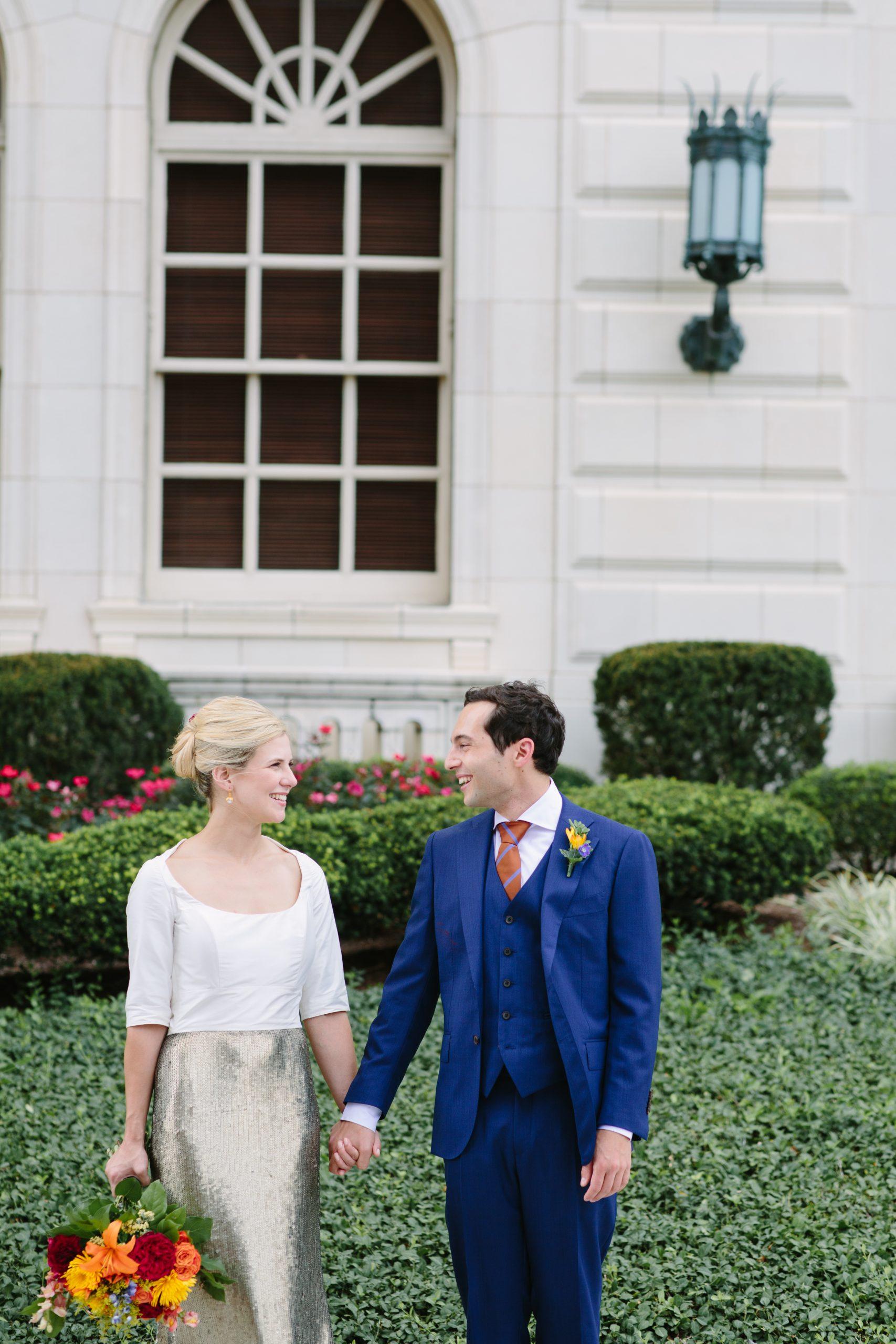 Custom taffeta and sequin wedding dress
