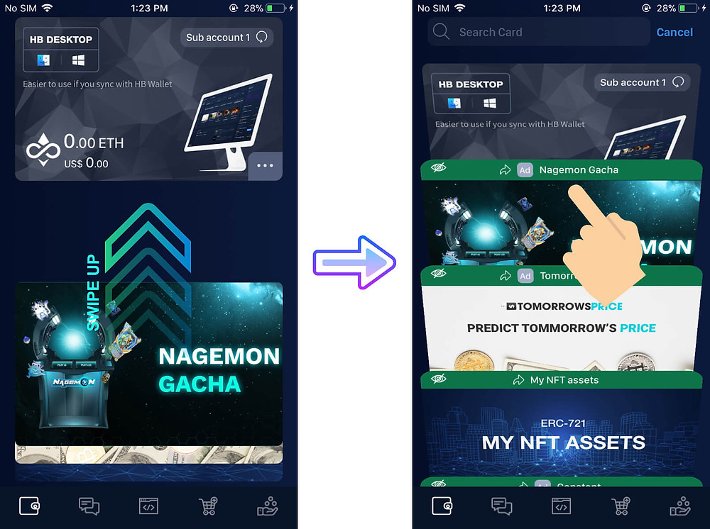 Swipe up and select the 'Nagemon Gacha' card