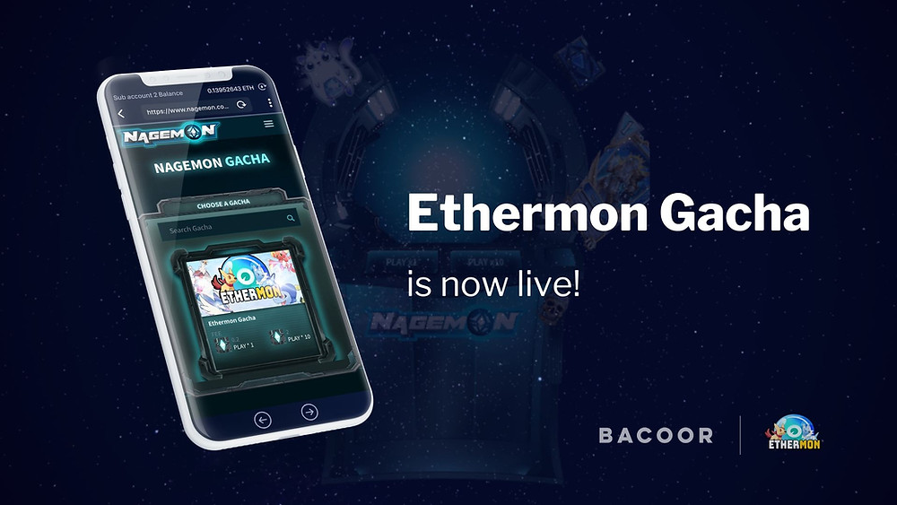 Play Ethermon Gacha to win valuable Ether Monsters with values up to 2.5 ETH!