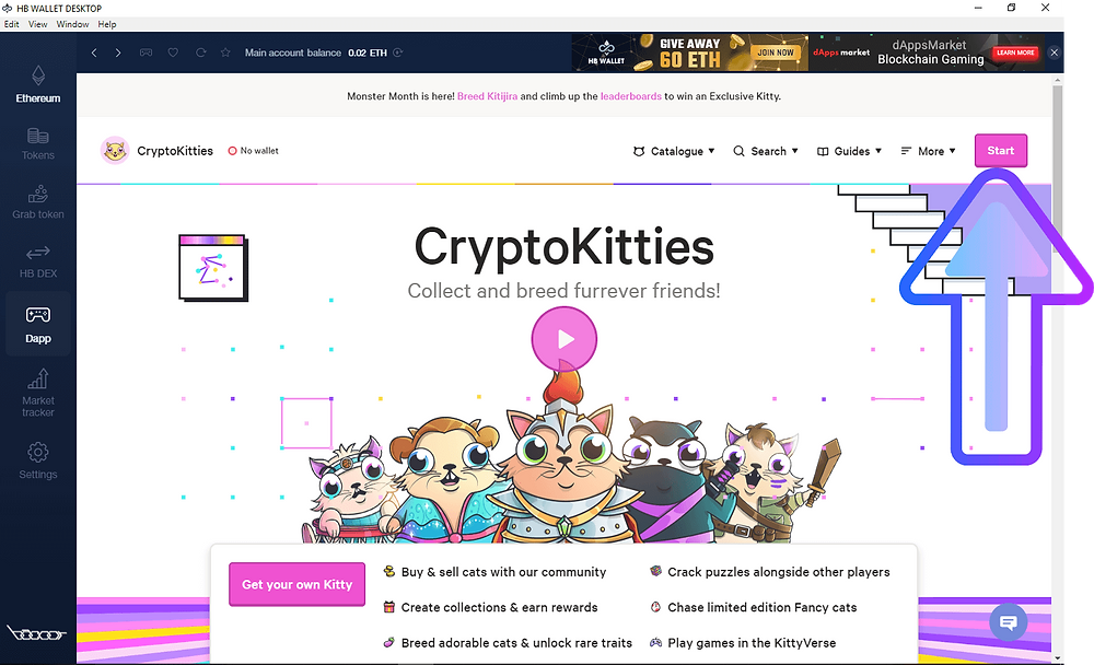 Create Cryptokitties account on HB Wallet