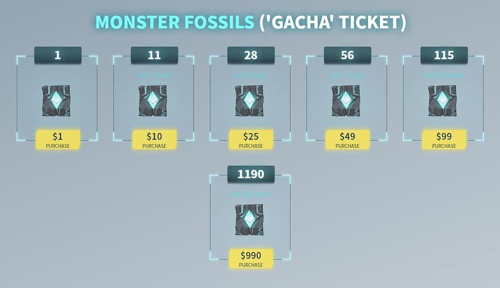Monster Fossils (Gacha Ticket)