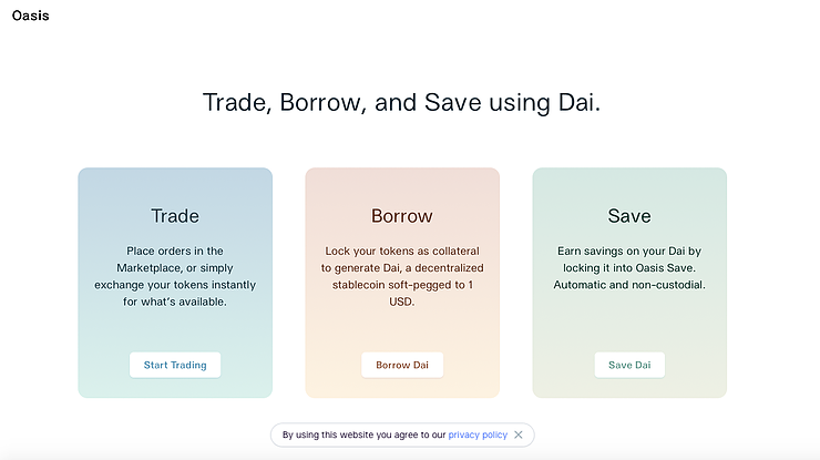 Oasis is a decentralized finance (DeFi) application that runs on the Ethereum blockchain.