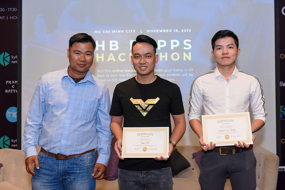 The winners of HB DApps Hackathon 2019 are VIC team, and Quoc Truong