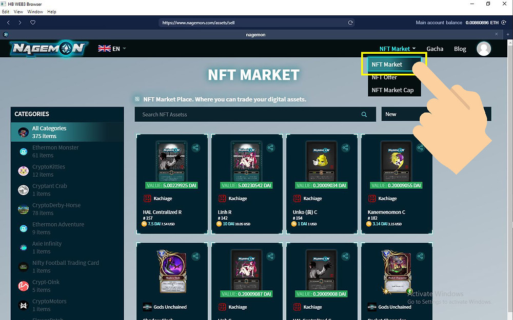 Select NFT Market to view assets on sale