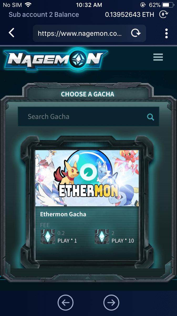 Select the 'Ethermon Gacha' machine