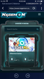 Select the 'Ethermon Gacha' machine