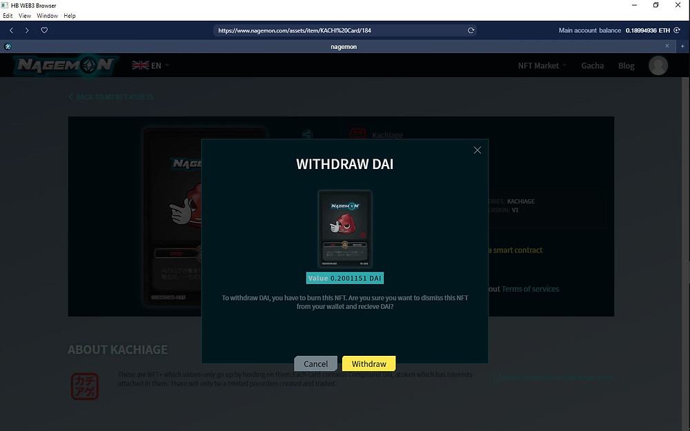 Click on 'Withdraw' to confirm