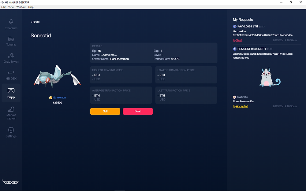 Sell your Etheremon via HB Marketplace or via Smart Contract