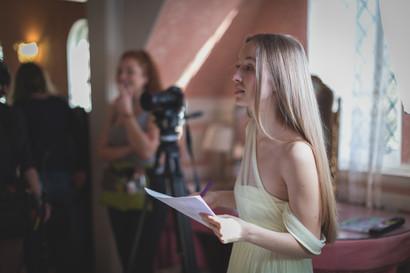 Emily preparing a take