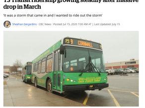 CBC News: T3 Transit ridership growing steadily after massive drop in March