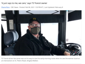 Bus driver stops route to help woman whose car was stuck in snow
