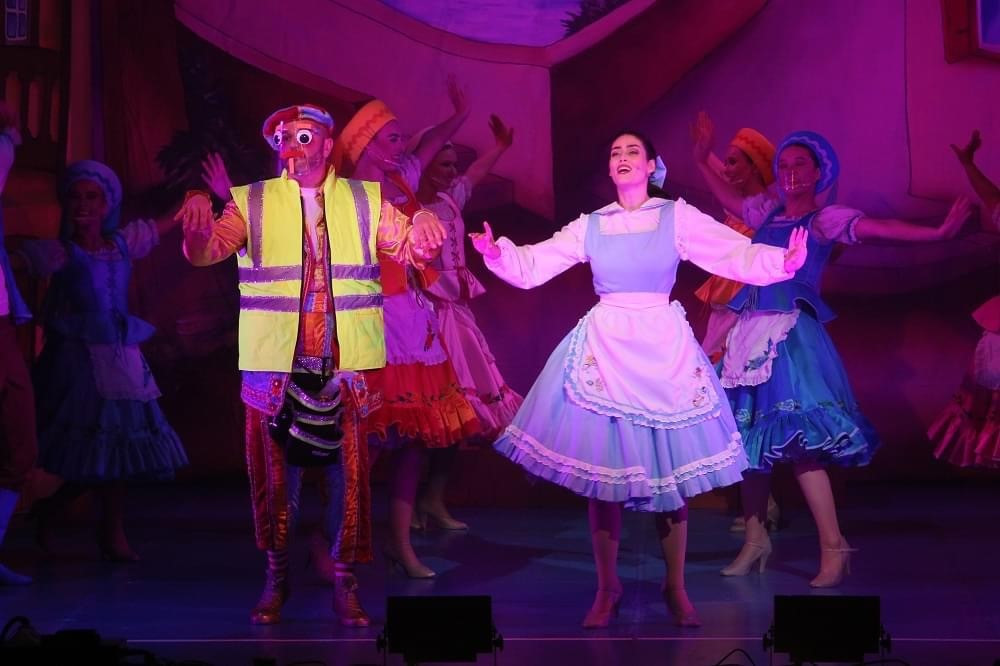 Scott Gallagher as French Frank and Olivia Sloyan as Belle in Beauty and The Beast at St Helens Theatre Royal, streaming until January 30