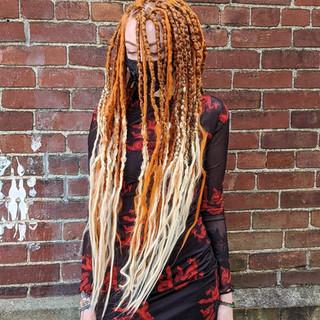 long orange brown dreads