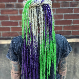 Green and purple synthetic dread locks