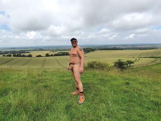 Stark trekkers walk on the South Downs