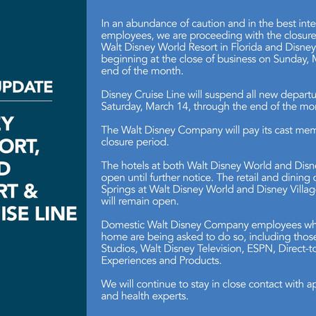 Parques da Disney fecharão devido ao coronavírus