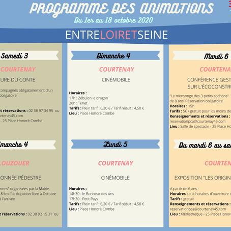 Programme des animations 3CBO                 Du 1er au 18 octobre