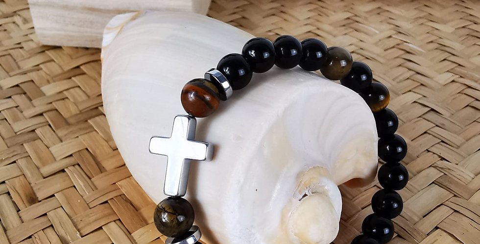 Bracelet homme en pierres minérales, onyx, œil de tigre et hématite