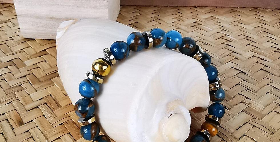 Bracelet homme quartz bleu et hématite doré