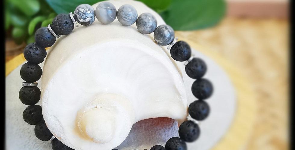 Bracelet, homme, en pierres de lave et Jaspe gris