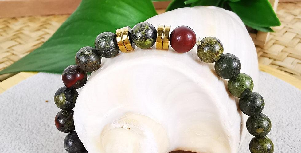 Bracelet en Jaspe dragon, jaspe rouge et hématites dorées